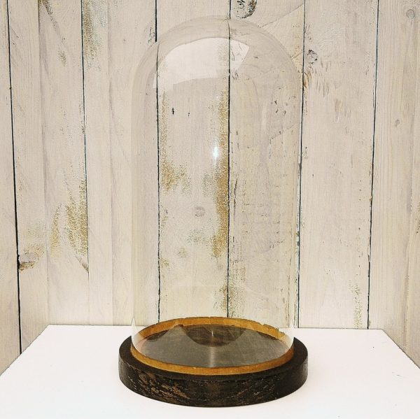 Globe de mariée en verre soufflé et socle en bois noirci d'époque Napoléon III. Idéal pour mettre en valeur tous types d'objets et de décors.