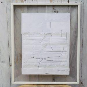 """Rare composition intitulée """"Cousage"""" en papier découpé, plié et cousu par Gérard Deschamps, signé en bas à droite Deschamps 1976"""