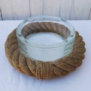 Rare vide poche en verre de la marque lumax, pour Audoux Minet, cerclage en corde marqué lumax. Une paillette et infimes égrenures sur le col, traces d'usage