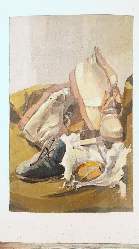 Nature morte peinte sur carton contrecollé, représentant des chaussures et le nécessaire de cirage. Par Jacques Bodevin, portant à l'arrière le cachet des beaux-arts de Quimper. Carton gondolé, tâche de rouille et salissures. Déchirures sur deux coins et trous de punaises sur les deux autres coins. A encadrer. Dans son jus. Dimensions : 65 x 50 cm
