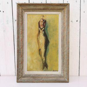 Huile sur toile, tableau d'étude d'un poisson suspendu intitulé Le hareng. Tableau peint par J Dupré en 1957. Chassis en bois et cadre en bois patiné gris. Quelques petits chocs sur le cadre, toile un peu jaunie. Très bon état. Dimensions avec cadre : 42 x 27,5 cm Dimensions sans cadre : 33 x 19 cm