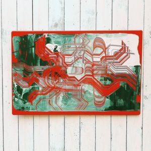 Plaque émaillée datant des années 70 représentant un tableau abstrait dans les tons verts et rouge. Design contemporain et moderne. Bel effet de matière en relief. Plusieurs points d'accroches permet de le placer verticalement ou horizontalement. Petites tâches de corrosion sur le pourtour au niveau des accroches. Très bon état. Dimensions : 78 x 51 cm
