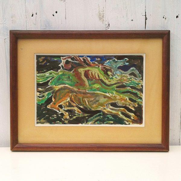 Gouache d'époque art déco représentant un homme chevauchant un cheval entouré de deux autres chevaux dans le style des représentations mythologiques de l'époque, encadrement en bois d'origine. Bon état. Dimensions : 39 x 30 cm