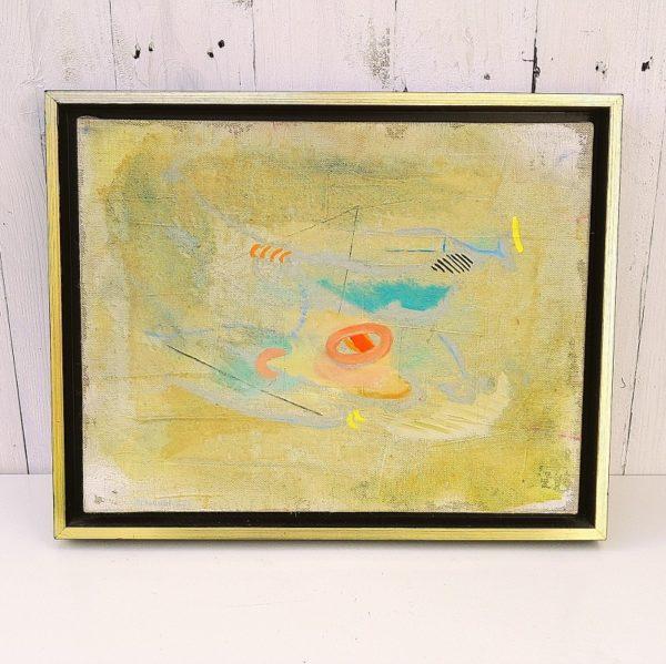 Huile sur toile abstraite par Eléonor Pironneau, datant des années 90. Encadrement caisse américaine en bois. très bon état. Dimensions : 39 x 31 cm