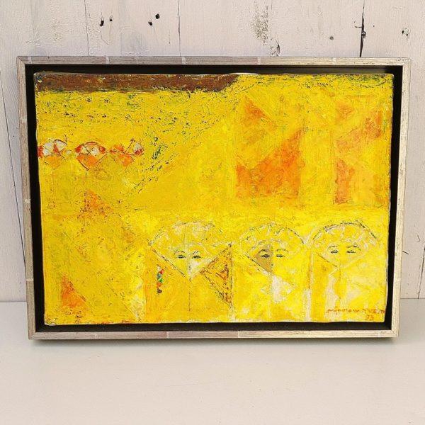 Huile sur panneau abstraite par Eléonor Pironneau, datant de 1993. Encadrement caisse américaine en bois. très bon état. Dimensions : 40 x 30 cm