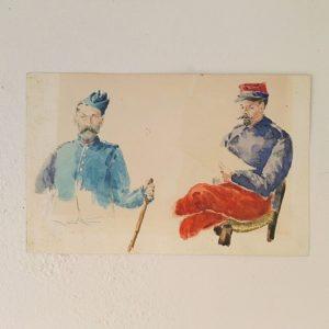 Petite aquarelle sur papier type canson représentant deux soldats français de la guerre 1914-1918 , l'un étant un lieutenant d'artillerie en uniforme bleu et calot bleu et l'autre étant un fantassin avec son képi rouge et bleu ,veste bleue et pantalon rouge. Aquarelle jaunie par le temps, petites tâche de rouille , les couleurs sont encore bien fraiches. A encadrer. Bon état général Dimensions : 21,5 x 13,5 cm