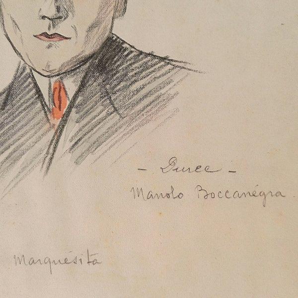 Portrait au crayon d'un homme italien coiffé d'un borsalino et d'un costume rayé typique des années 50. Noté Manolo Boccanegra sur le coté et La marquésita sur le dessous du portrait. Une tâche de graisse sur le coin haut à gauche, quelques tâches sur le dessins, jaunissure. Encollé sur un carton rigide. Dans son jus Dimensions : 25 x 20 cm