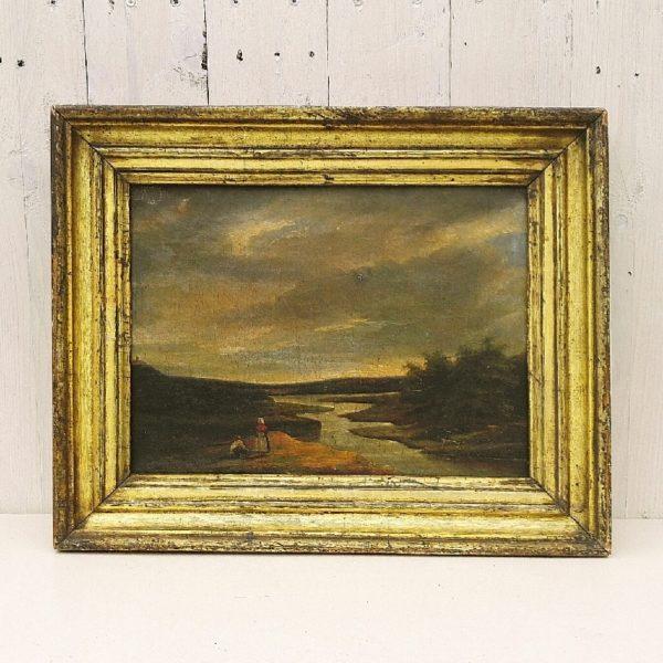 Huile sur toile d'école flamande datant du XIXe siècle, représentant un méandre d'une rivière avec deux personnages en premier plan sur le bord de la rive. Ciel nuageux et menaçant. Encadrement d'origine. Un nettoyage à prévoir. Traces d'usage sur l'encadrement. Bon état général. Dimensions : 42,5 x 34 cm